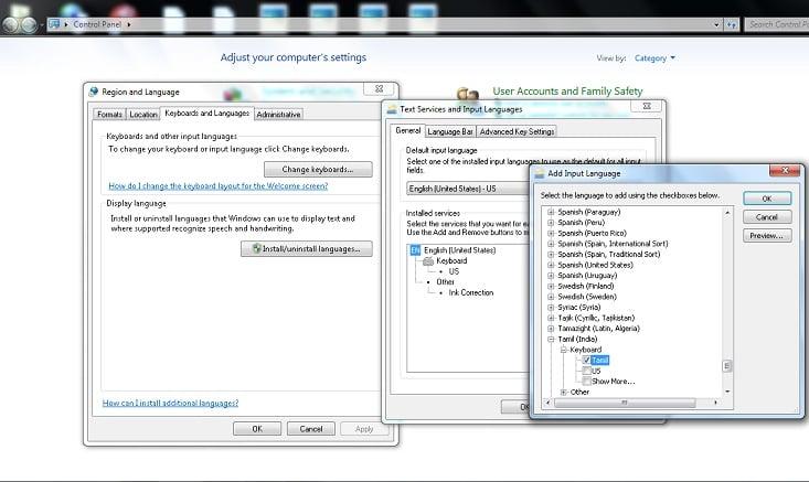 how to change windows keyboard language without
