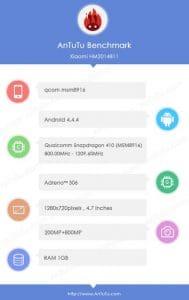 Xiaomi Redmi 2s antutu benchmarks