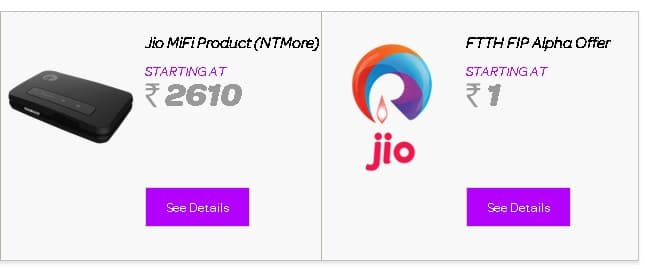 Reliance Jio internet plans
