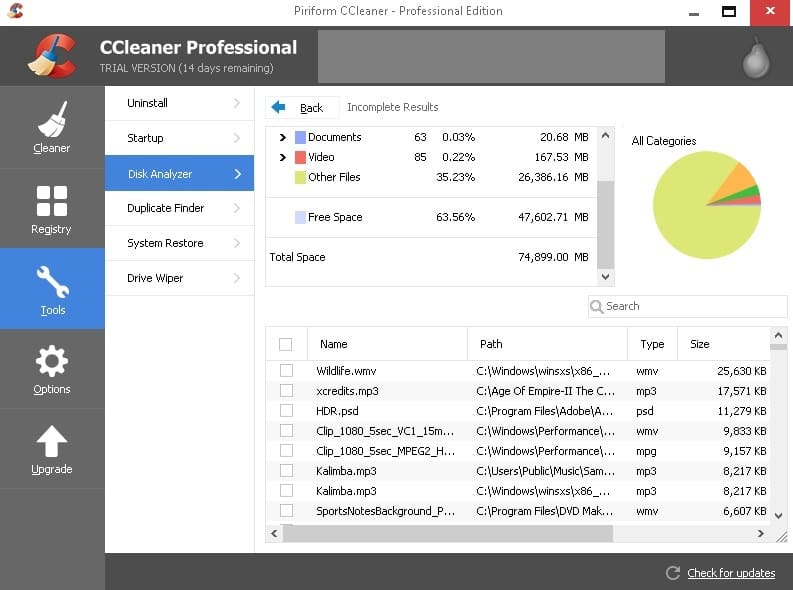 ccleaner disk analyzer