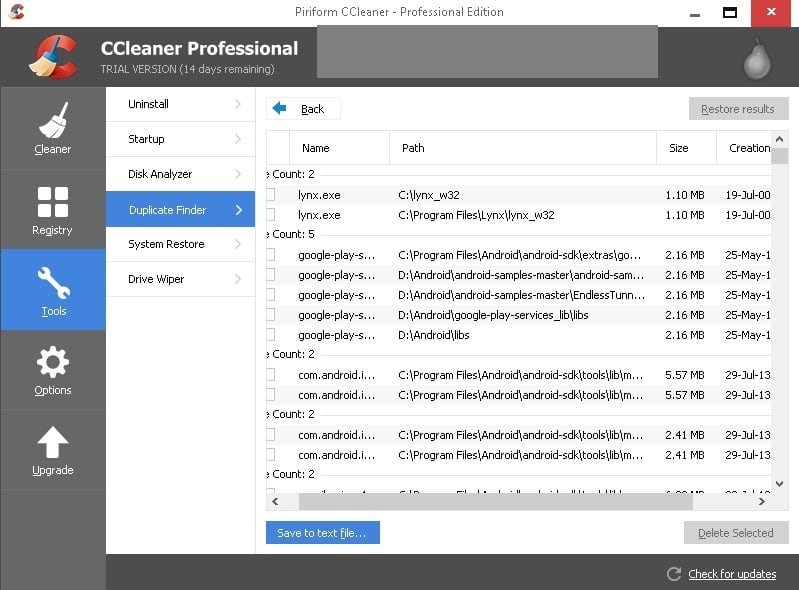 ccleaner duplicate file remover