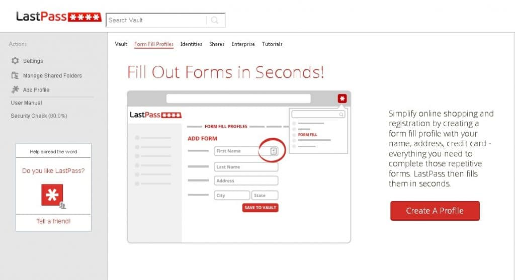 lastpass form fills