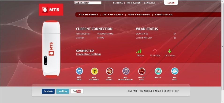 mts blazbe uta wifi dashboard