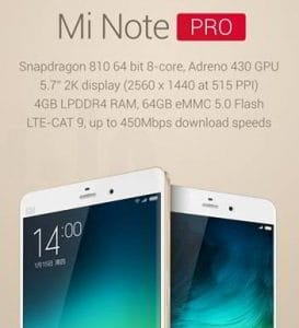 Xiaomi Mi Note Pro price in India, specifications