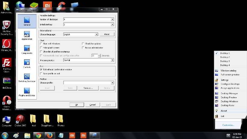 dexpot - Free virtual desktop managers for windows 7, 8.1