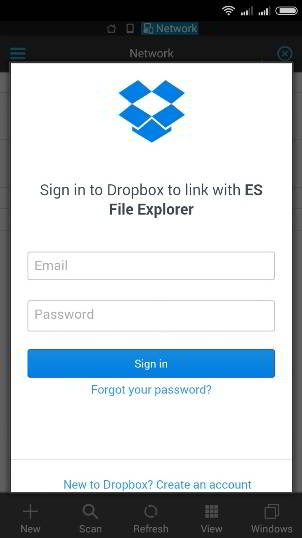 ES file explorer dropbox login android