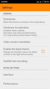 VLC settings