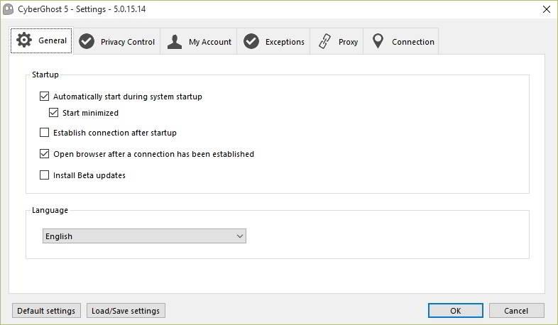 CyberGhost VPN settings general