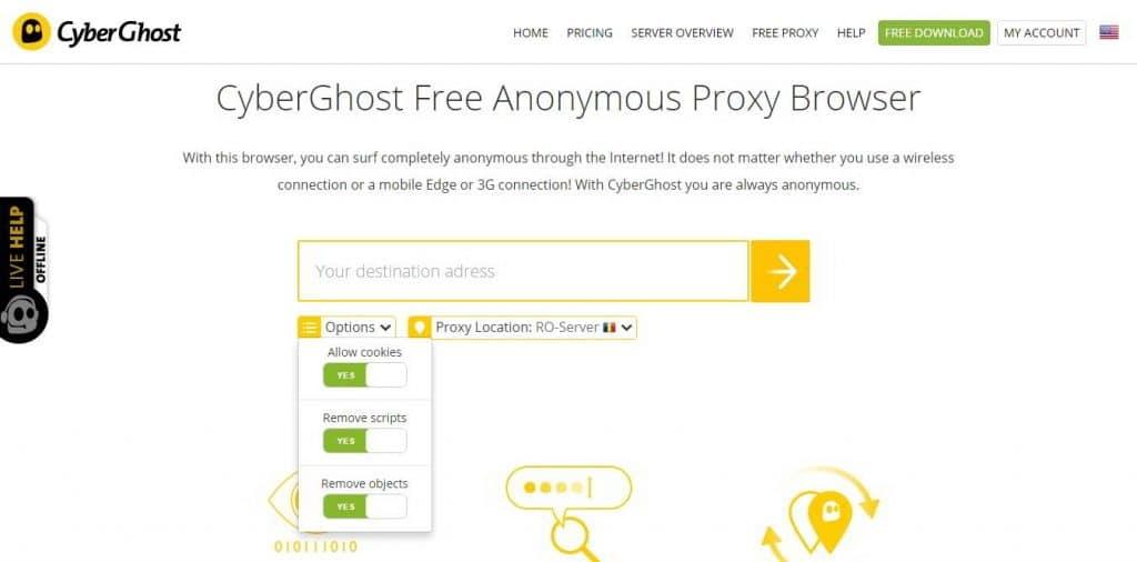 Cyberghost VPN free proxy