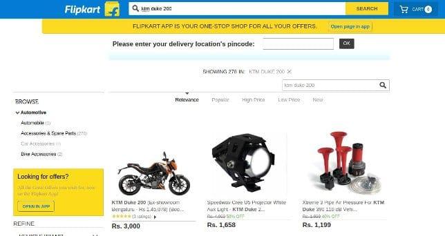 flipkart buy bikes online