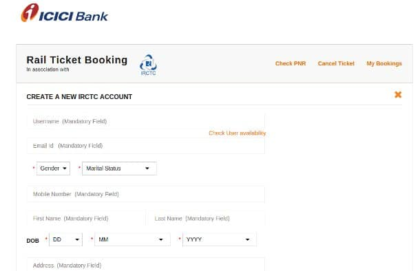 icici irctc register ticket booking