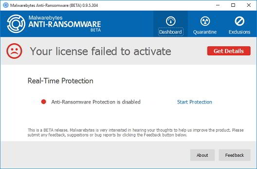 MalwareBytes Anti Ransomware software free download dashboard