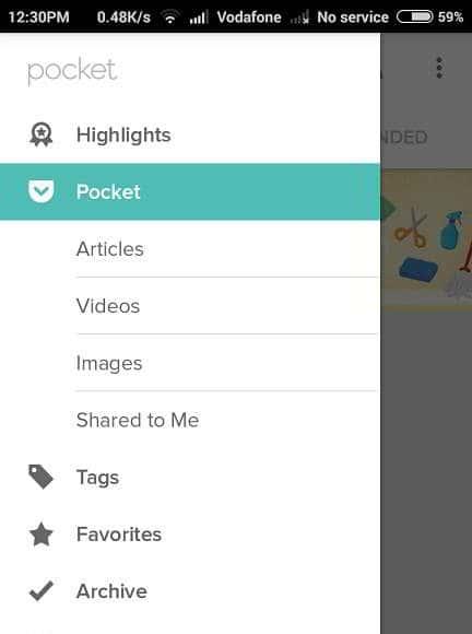 pocket vs instapaper app menu