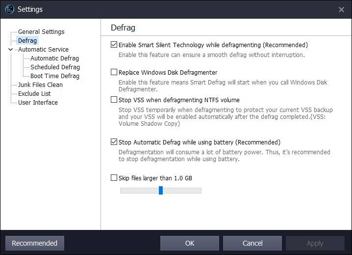 settings defrag
