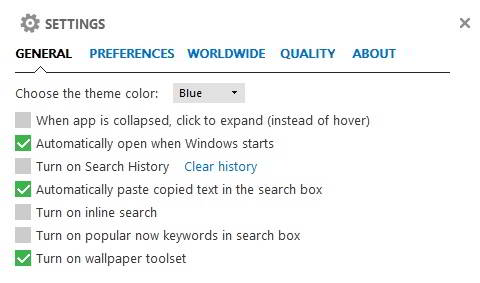 Microsoft Bing desktop settings