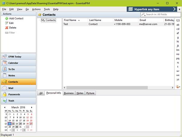 EssentialPIM contacts manager software