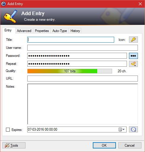 keepass add entry