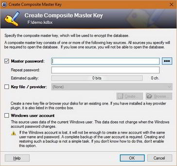 keepass review : master key file