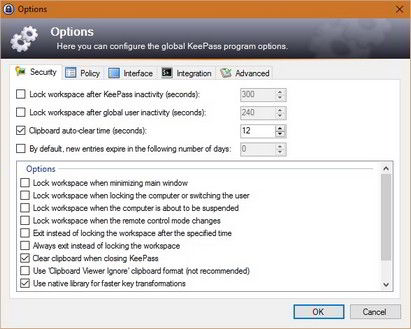 keepass options