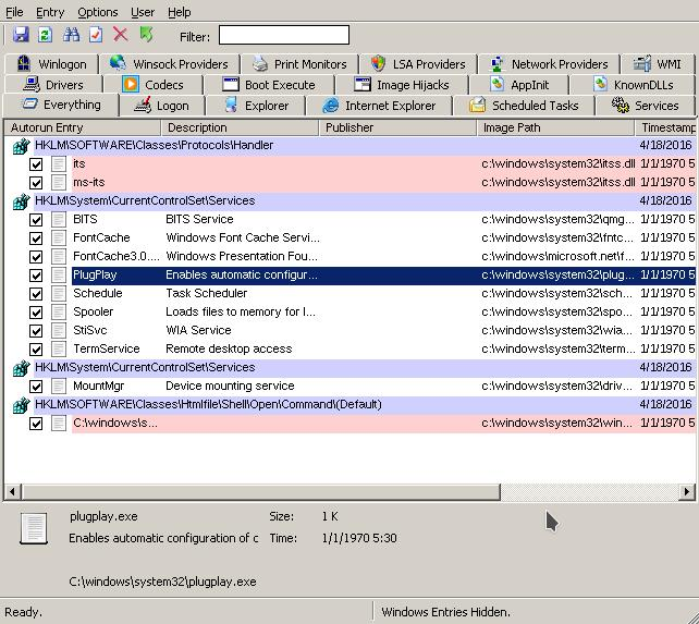 Microsoft Sysinternals autoruns Windows startup manager