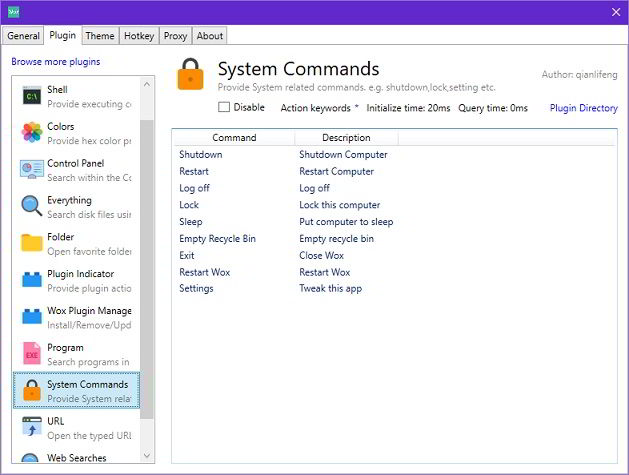 wox system commands