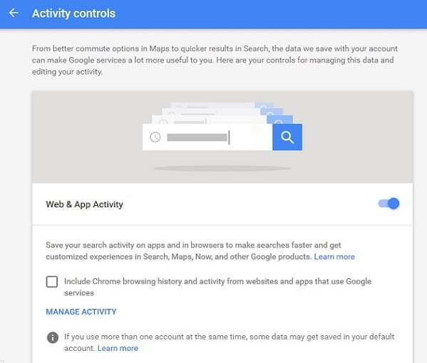 Activity controls in Google Accounts