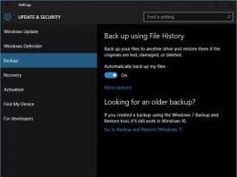 Windows file history settings