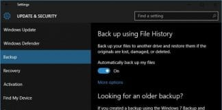 Windows file history settings