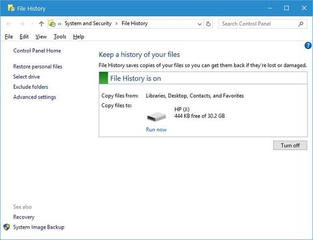 Windows file history review