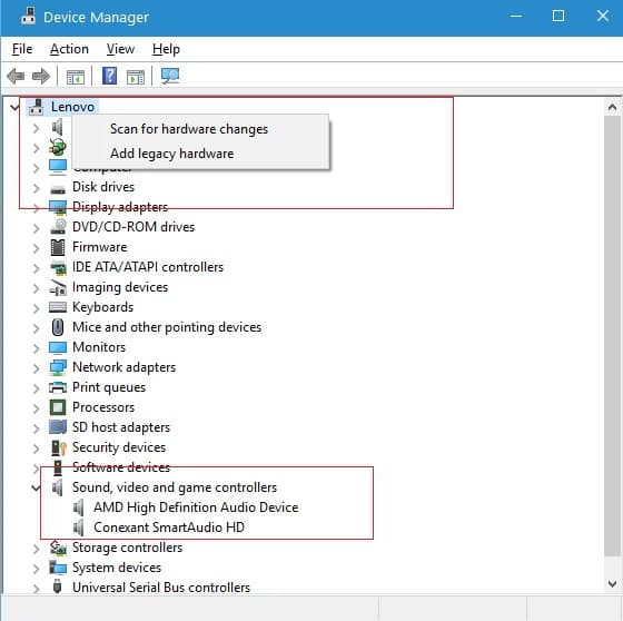device manger win 10 : scan hardware changes