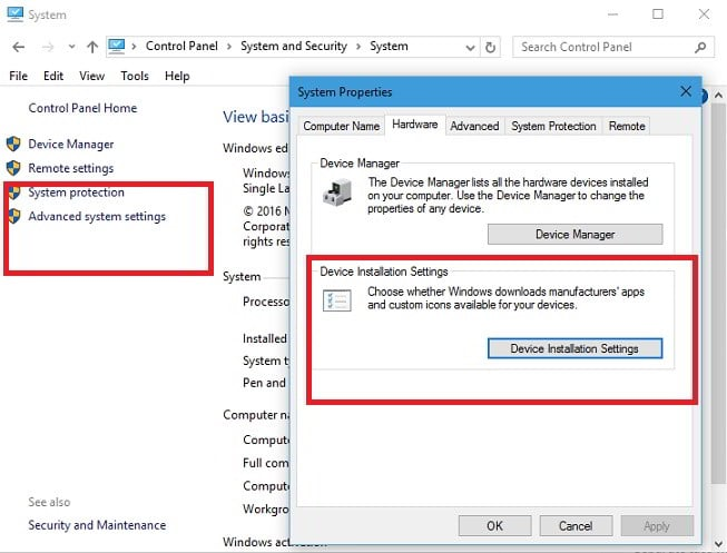 advanced settings : disable Windows 10 driver update