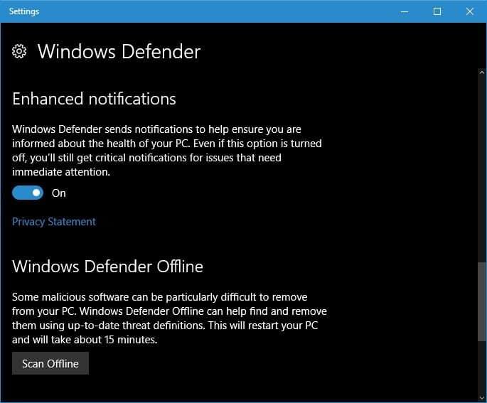 windows defender features