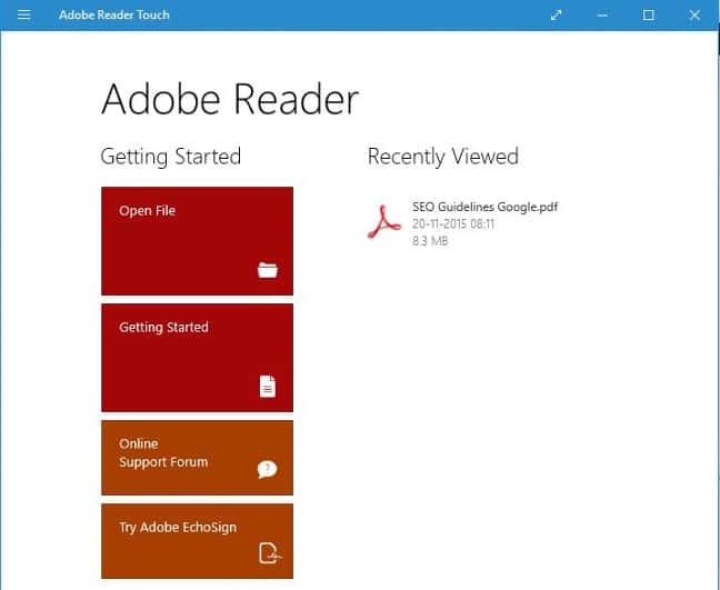 adobe reader touch for Windows 10