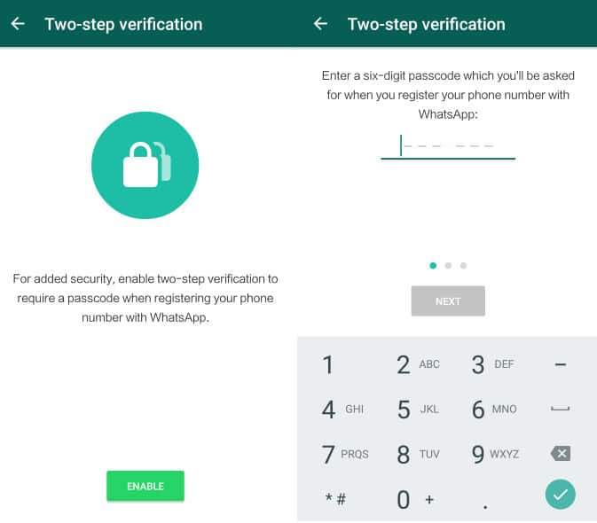 activate whatsapp two-step verification feature