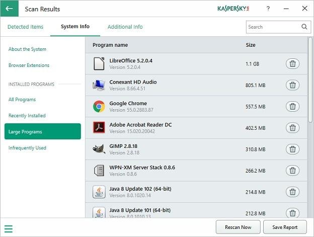 kaspersky system checker system information