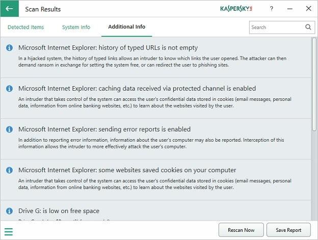 kaspersky system checker additional information