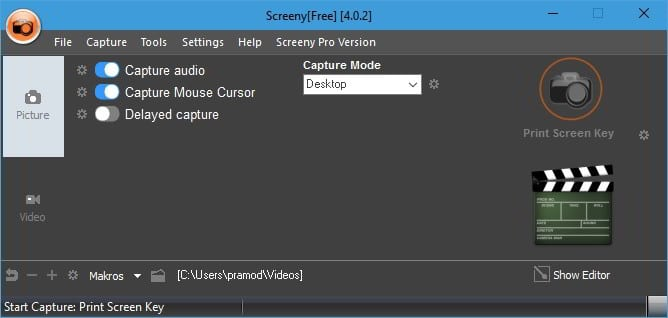 screeny free screenshot software for Windows