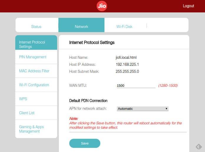 Jiofi3 admin page