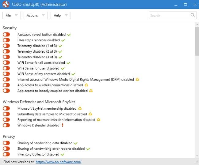 O&O ShutUp10 windows privacy tool