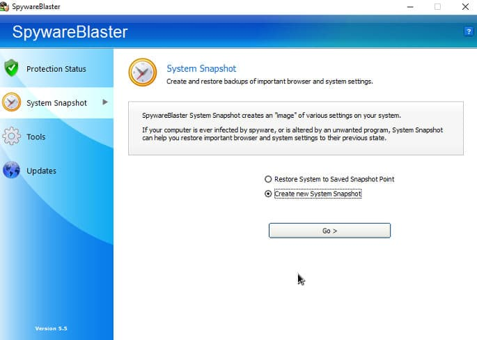 Spywareblaster system snapshot