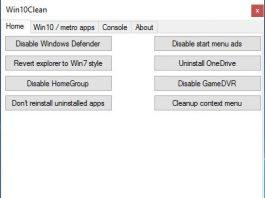 Win10Clean - free Windows 10 tweaker